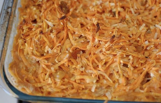 Sweet Potato Kugel. This vegetarian and vegan kugel recipe is cholesterol-free and lower in fat than a traditional kugel with eggs. No dairy, No Eggs, No Soy, and can be Nut Free.