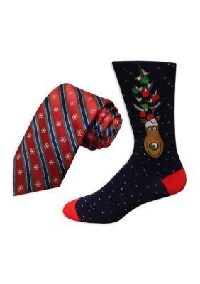 Holiday Ties By Hallmark Men's Snowflake Stripe Tie And Reindeer Socks - Red - Regular - 58 In.