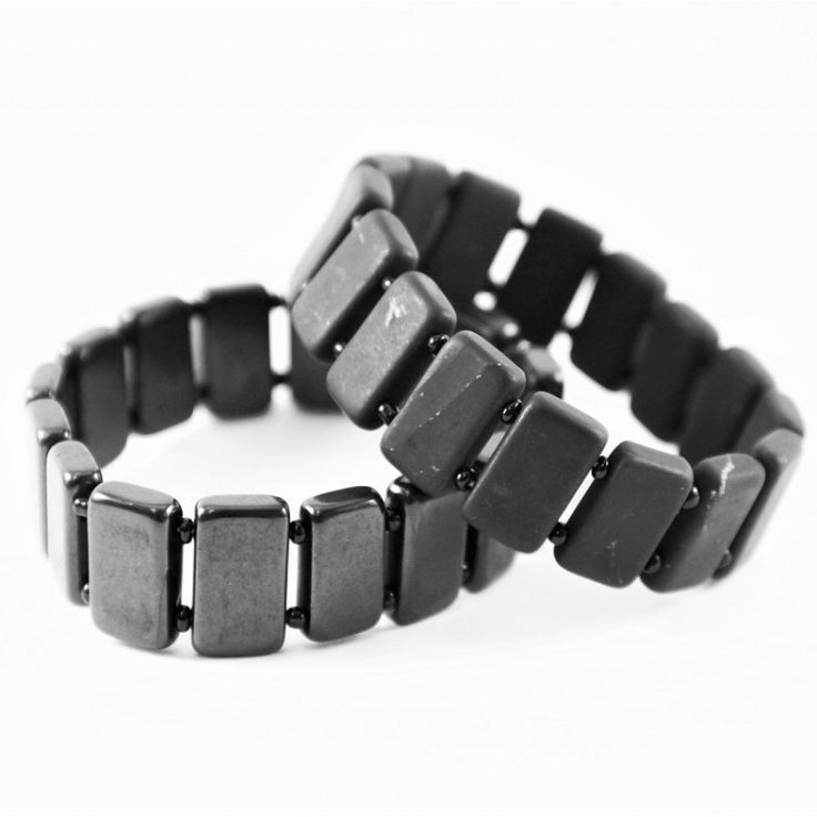 Authentic Shungite bracelet with non-polished rectangular beads on elastic band Price: $29.90