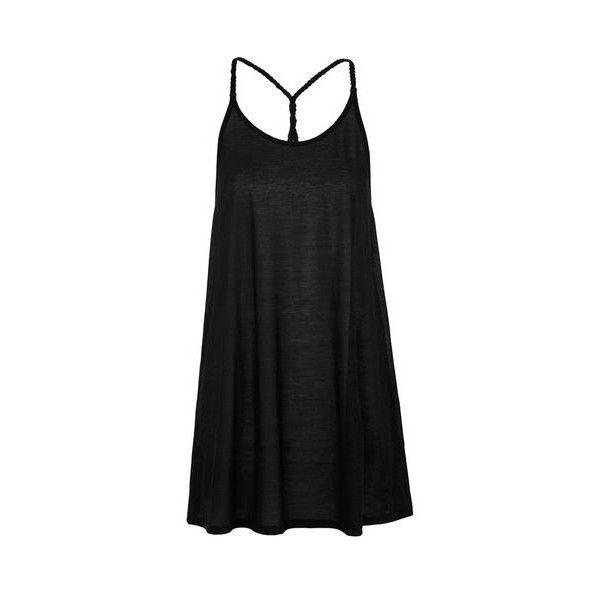 TopShop Braided Strap Sundress (77 PEN) ❤ liked on Polyvore featuring dresses, black, strap dress, strappy dress, topshop dresses, sun dress and woven dress