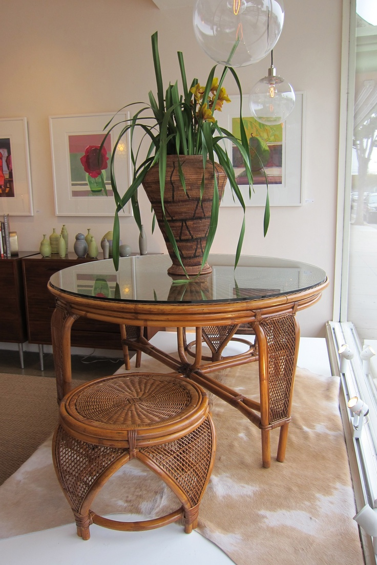 Vintage Bamboo and Rattan Table and Set of 4 Stools. First Look: New at