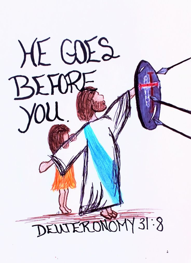 """The Lord himself goes before you and will be with you; he will never leave you nor forsake you."" Deuteronomy 31:8 (Scripture doodle of encouragement)"