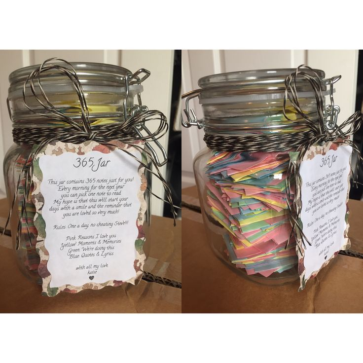 365 Note Jar: I created this jar with 365 notes in it for my boyfriend while he is stationed over seas for 2 years with the military. I'm hoping they can bring comfort and happiness on days when we can't talk and are so far apart ❤
