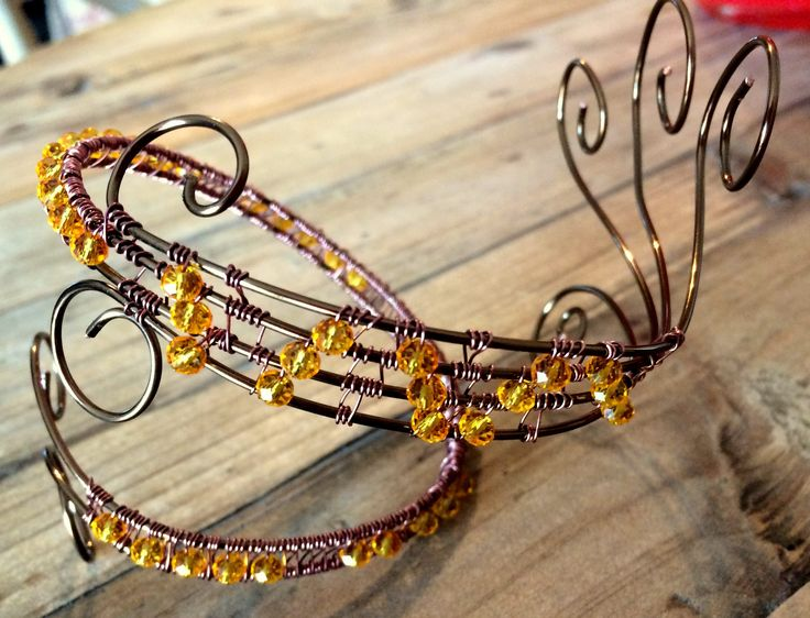 Bronze Wire Anklet with Yellow Crystals by GaylesDesigns01 on Etsy
