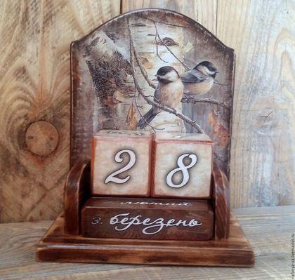 """Персональные подарки ручной работы. Ярмарка Мастеров - ручная работа. Купить Вечный календарь """"Синички"""". Handmade. Вечный календарь"""