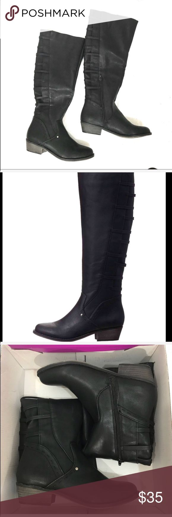 NWB Black rampage Riding Boots Style is Inlay.. new with box. Rampage Shoes Combat & Moto Boots