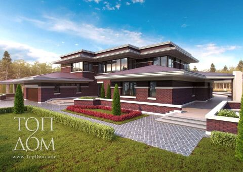 Проект дома из красного кирпича