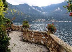 Jezioro Como, Włochy, Taras, Ławka, Kwiaty, Góry