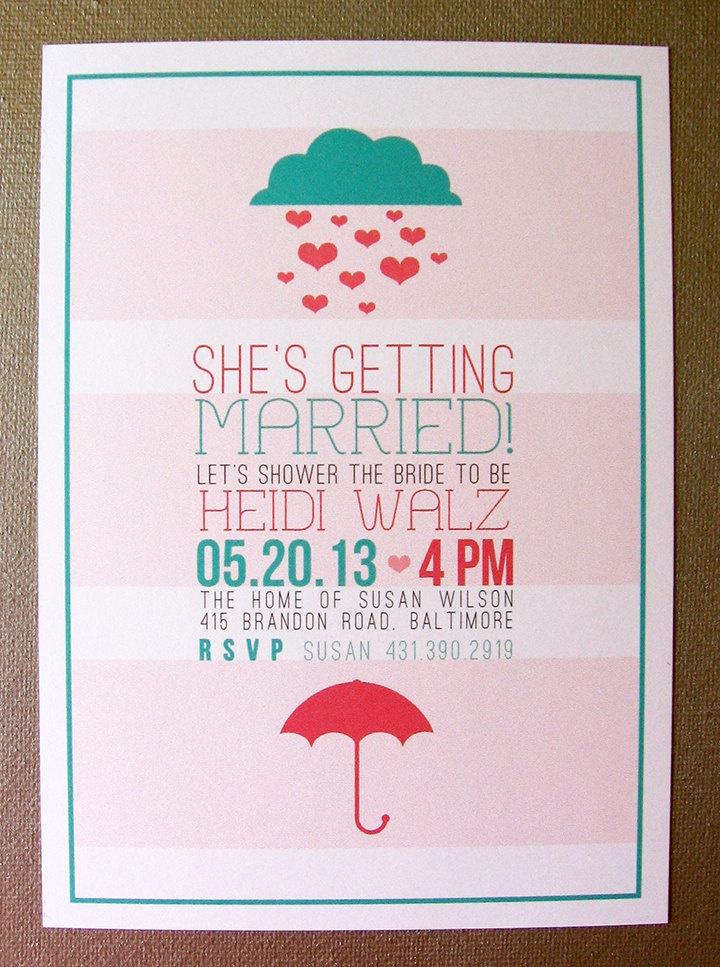 bridal shower invitations with recipe card attached%0A Hearts and Umbrella Shower Invite