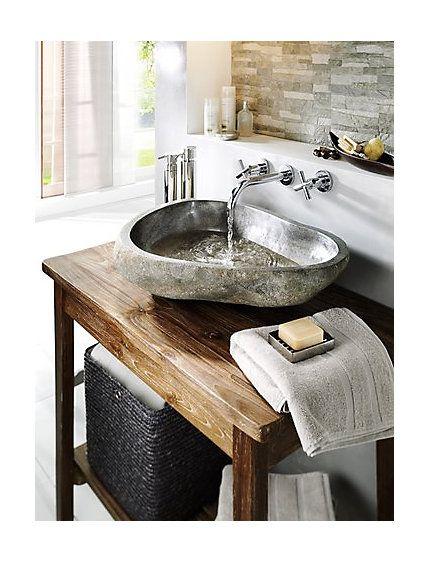 Waschbecken aus echtem Flussstein