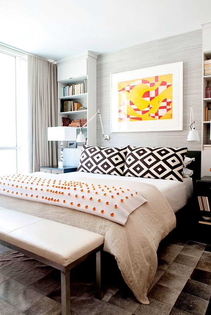 Geometric patterns in the bedroom with adorable and warm art pop throw