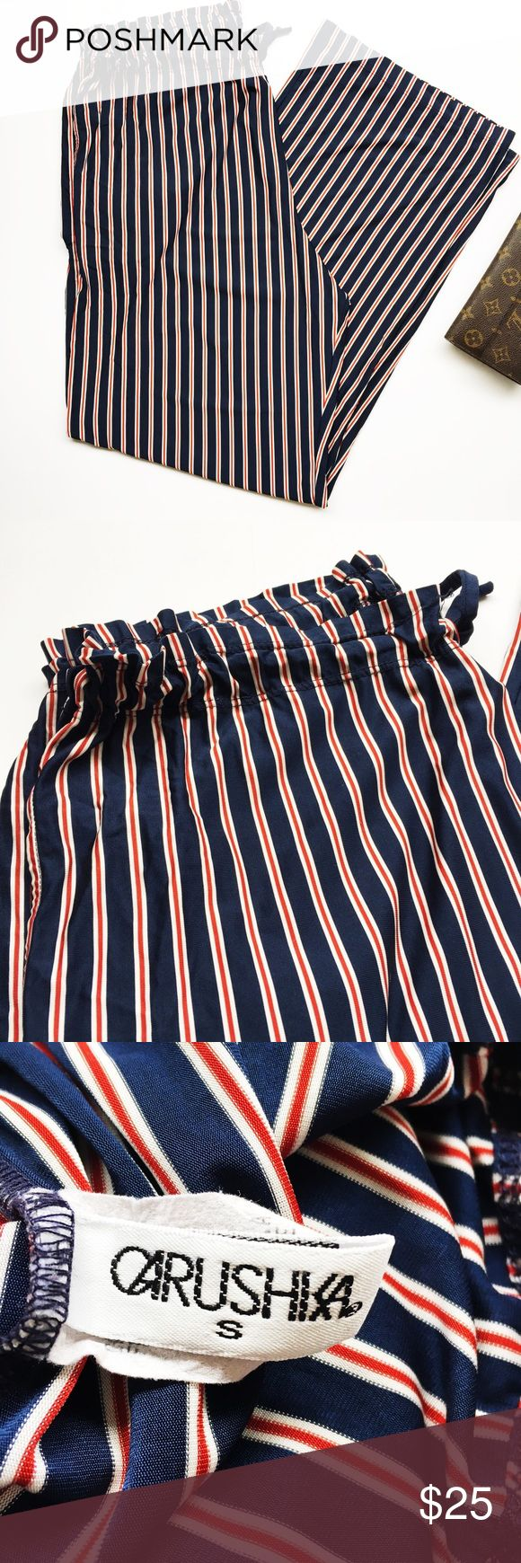 """PALAZZO pants By LA designer Carushka Jarecka. Her designer worn by Demi Moore, Carmen Electra, Gabrielle Reece, Heather Locklear, Brooke Burke and Kate Moss. Fluid stripes in red, white and blue. Drawstring, adjustable waist. Inseam 31.5"""".  All images are by GlamintheCity.   PRICE IS FIRM.   ✨From personal collection ✨Shipped immediately ✨Smoke/Pet free   ❌Lowball ❌Trade ❌Offsite transaction Carushka Pants"""