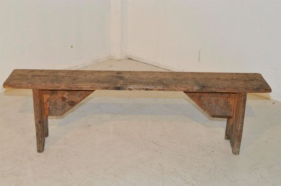 Antique French Country Solid Oak Bench 100 Years Old by Thegatz