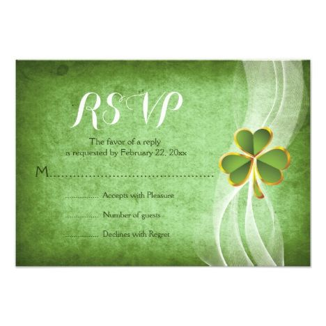 Irish clover green St. Patricks Day wedding RSVP Card #stpatricksday #cards or #postage