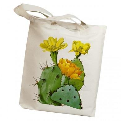 Retro Cactus Prickly Pear Canvas Tote