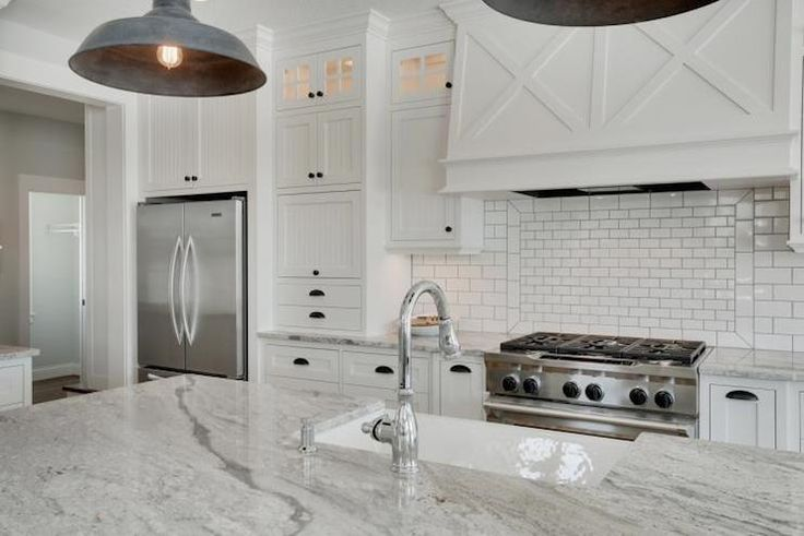 - kitchens - granite that looks like marble, marble effect granite, granite like marble, subway tiled backsplash, mini subwa...