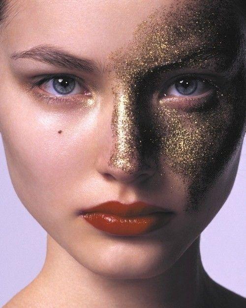 ruslana korshunova in gold glitter and red lips