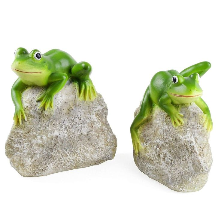 Garden Pond Frog Ornaments Animal Pair 'Leafy & Leroy' Frogs on Rocks #Gardens2you