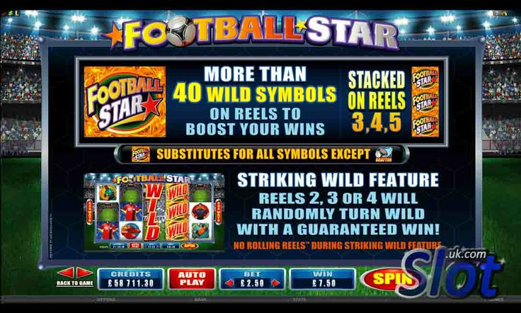 http://www.slot.uk.com/slot-games/football-star-slot/ Check out the paytable in the Football Star slot game from Microgaming