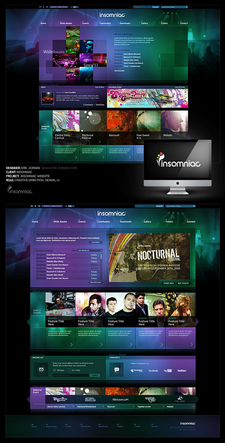 Insomniac Website Pitch - Designed By Eric Jordan (www.ericjordan.com) #webdesign #graphic #design
