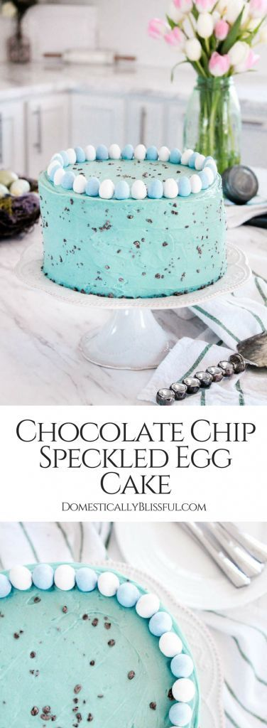 ThisChocolate Chip Speckled Egg Cake is made with French vanilla cake & a homemade buttercream frosting that is speckled with chopped chocolate chips. #ad #SpringJustGotSweeter