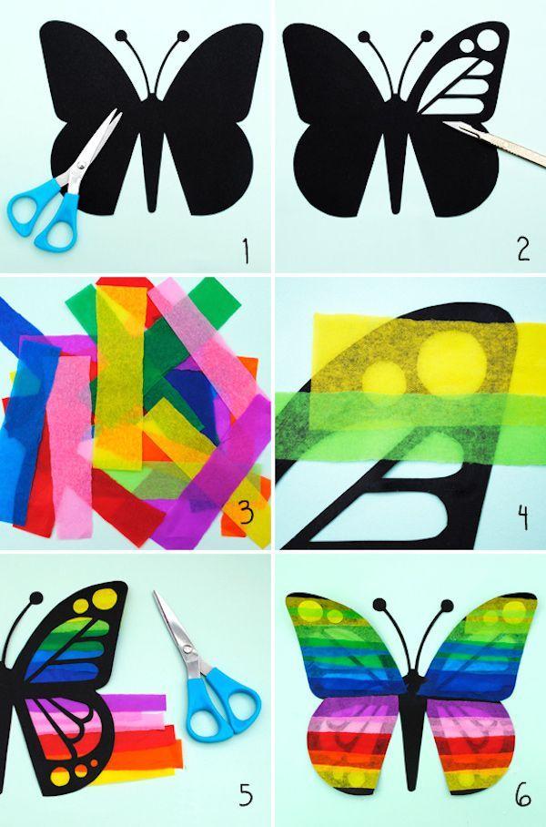 Con papel charol los alumnos harían las alas de la mariposa tal y como se ve en la imagen de la forma que ellos quisieran.
