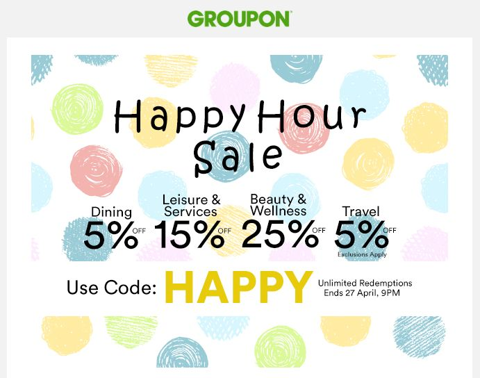 #Happy_Hour_Sale - By using a #Groupon voucher code enjoy all the thing such as #cafes, #restaurants, #gyms, #salons and more and get a phenomenal concession of up to 25%. Offer valid till 9. pm. Hurry!  #Groupon_Singapore  #Groupon_Voucher_codes  #vouchers #coupon_codes #promo_codes  #Singapore https://sg.collectoffers.com/Groupon?O=2311490
