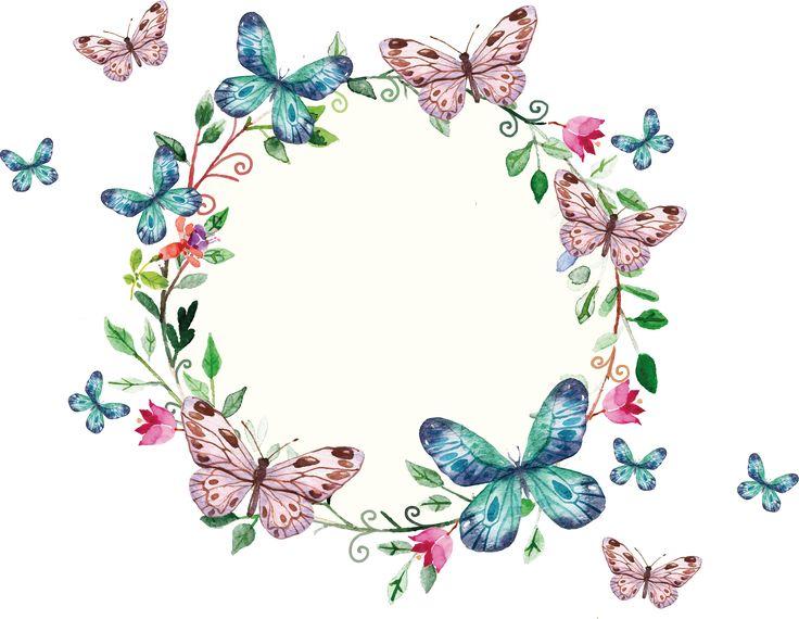 Floral Wreath And Butterflies Frame Renkli