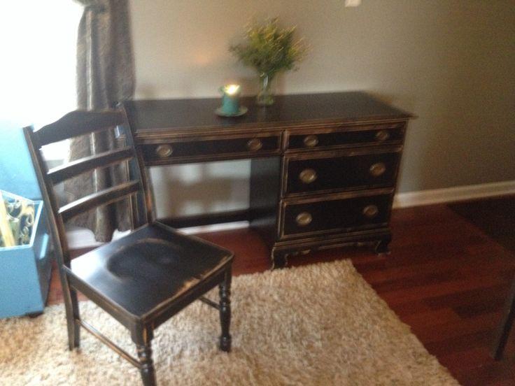 Superbe Shabby Chic Black Desk U0026 Chair