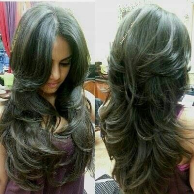 Layered long hair