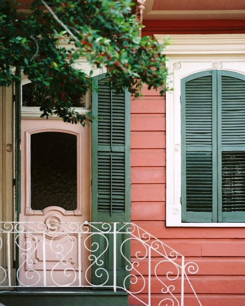 (via New Orleans - contemporary - exterior - new orleans - by Jason Oliver Nixon)Red Doors, Exterior Photos, Green Doors, Favorite Places, Green Shutters, Pink House, Front Doors, Doors Photos, Pink Doors