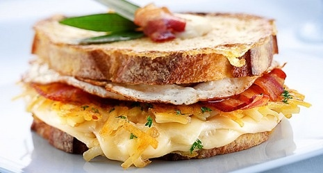 Breakfast Grilled Cheese Sandwich With Maple Syrup Recipe — Dishmaps