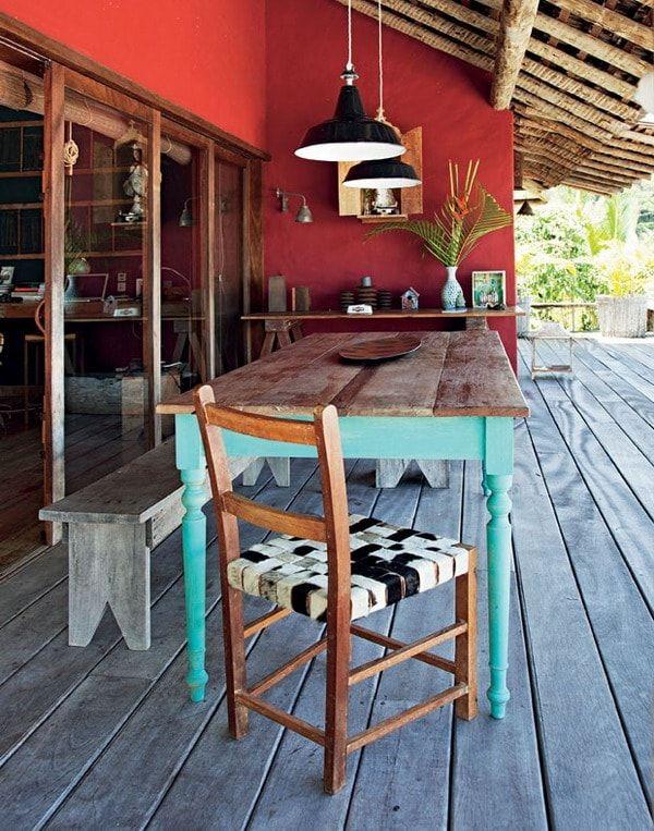 Muebles de madera en exteriores