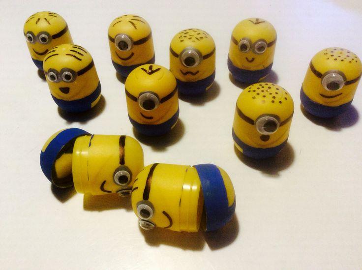 Minions lavet af Kinderæg. Geniale som pengegave til fødselar eller konfirmand.