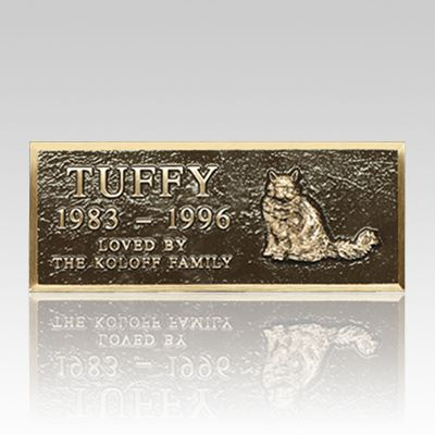 The Cast Bronze Pet Headstone (small) are quality cast bronze markers with a Renaissance finish. These monuments to your pet are available in two sizes; both include the name of the pet, numeric years of birth and death, a breed-specific applique and a short line of sentiment. Inscriptions are all upper case Roman style as shown. The piece can be placed directly on the ground or anchored to a footing of pre-cast concrete, poured concrete or cut stone. Solid brass mounting hardware is…