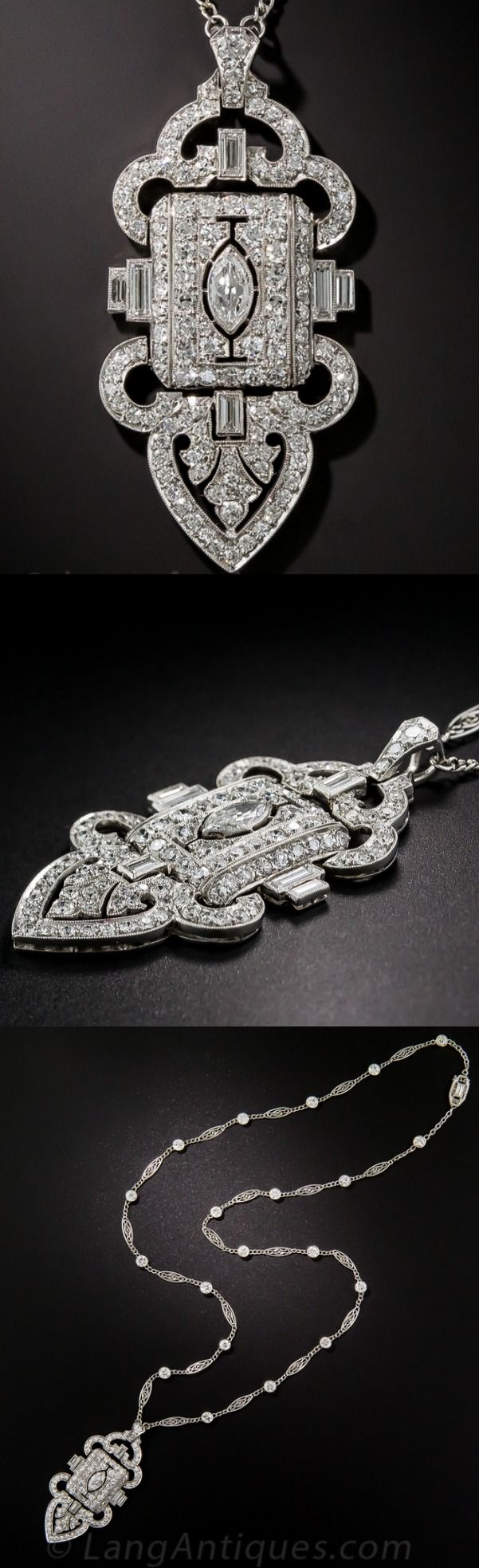 Art Deco Platinum Diamond Lavaliere Necklace, A pristine and precious treasure from the height of the Jazz Age - circa 1920s.