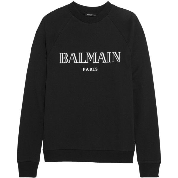Balmain Printed cotton-jersey sweatshirt (€295) ❤ liked on Polyvore featuring tops, hoodies, sweatshirts, sweat, sweaters, black, cotton jersey, balmain sweatshirt and balmain