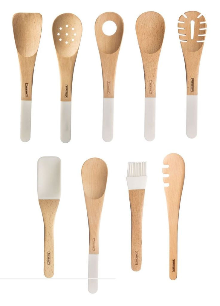 Typhoon Duo Wooden Silicone Cooking Utensil Serving Slotted Pasta Spaghetti Risotto Spoon Spatula Tongs Pastry Brush Kitchen Tool 0