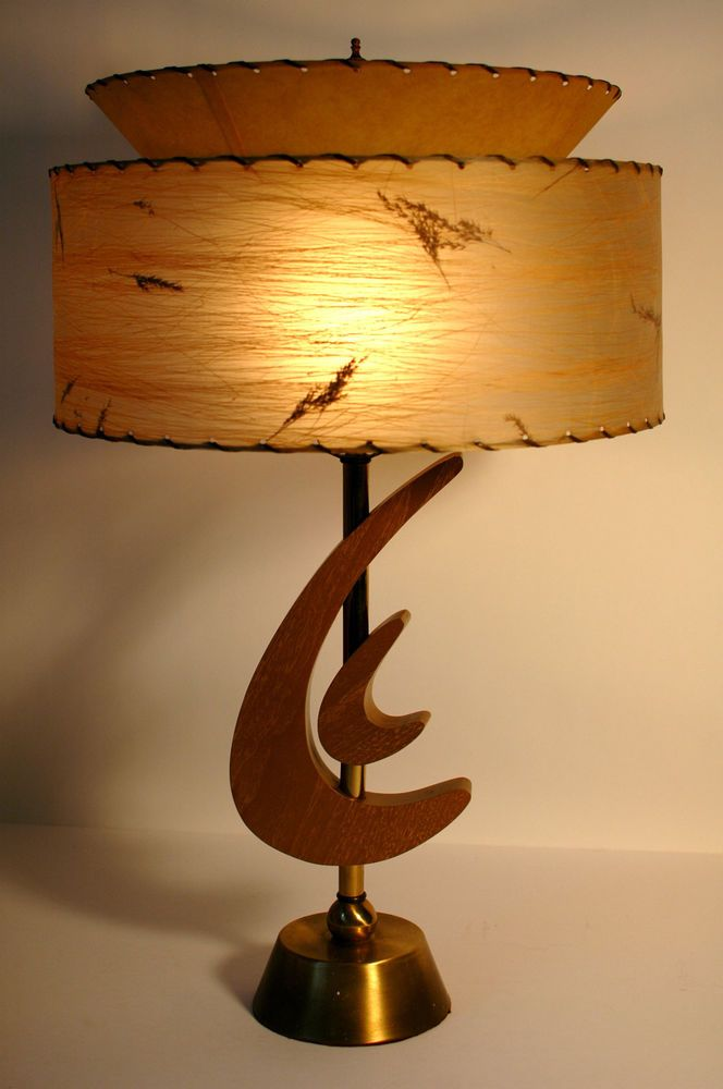 nice vtg retro 1950s mcm atomic boomerang majestic table lamp wfiberglass shade - Lamp Shades For Table Lamps