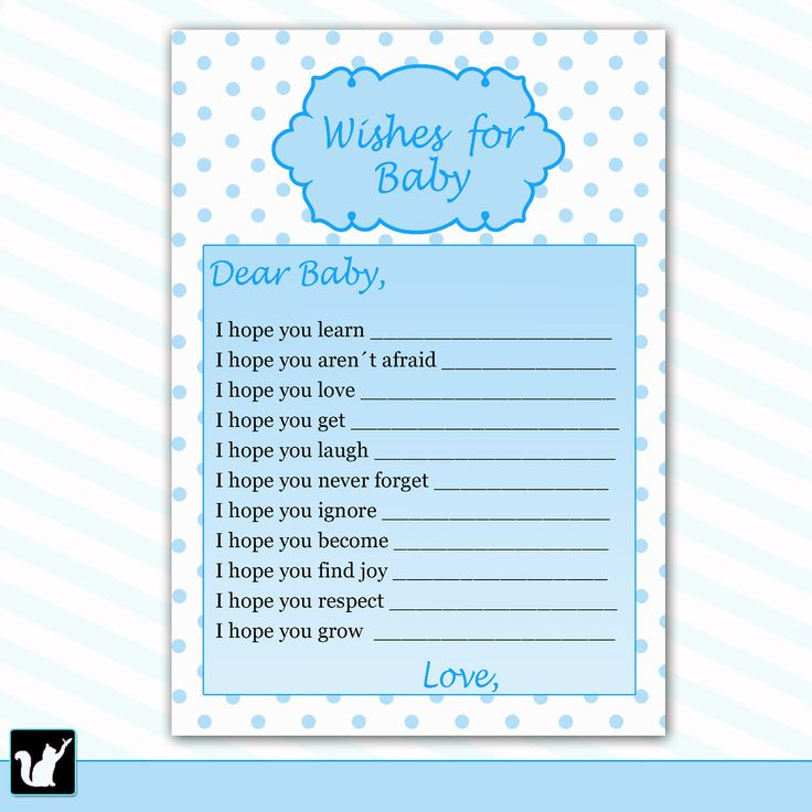 Well Wishes for Baby Card Baby Boy Shower Printable Activity Game with Blue Polka Dots