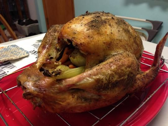Perfect Turkey in an Electric Roaster Oven.  I used a combination of Alton Brown's thaw and brine recipe and this electric roaster oven recipe and the turkey came out gorgeous.