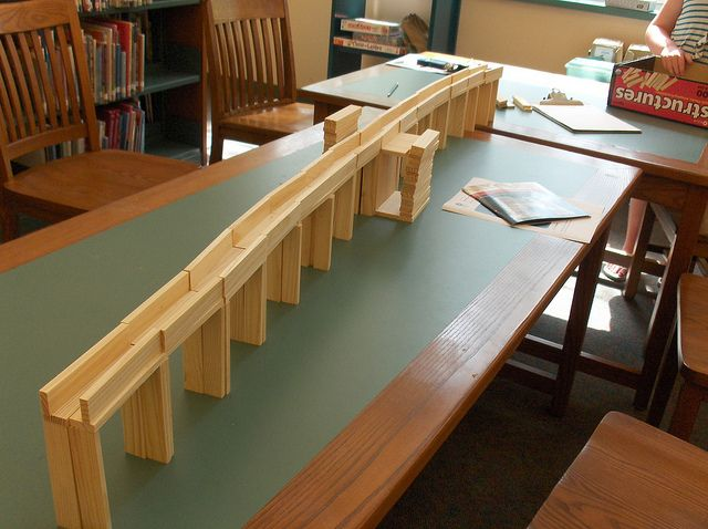Photos from our recent Makerspace Monday where we built with KEVA planks.