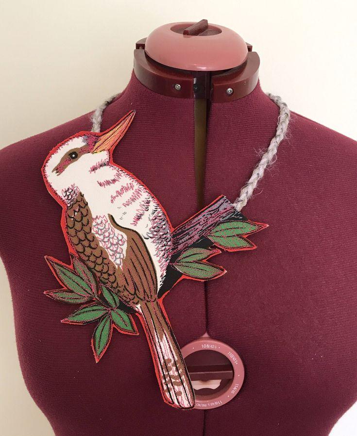 Kookaburra Australian tea towel necklace from CraftyChicHandmade
