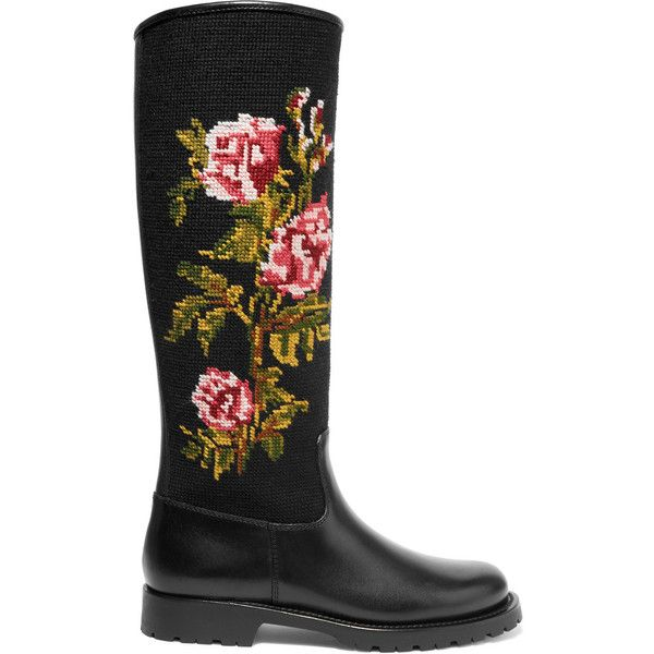 Saint Laurent Leather and embroidered canvas rain boots (146.110 RUB) via Polyvore featuring shoes, boots, black, black slip-on shoes, black rubber boots, black slip on boots, pull on boots и black leather boots