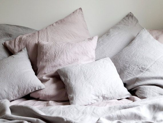 Linen Bedding, Pure Linen, Linen Bed Set, Queen Size  MOODS BEDDING CITY COLLECTION Collection made from 100% pure linen , Light Gray, and Dusty Pink