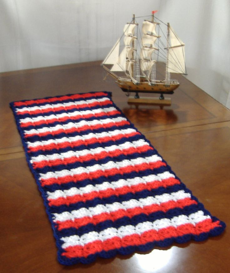 red white and blue table runner, crochet table runner, nautical table centerpiece, Americana table, striped table runner, table centerpiece by GrammysCustomCrochet on Etsy