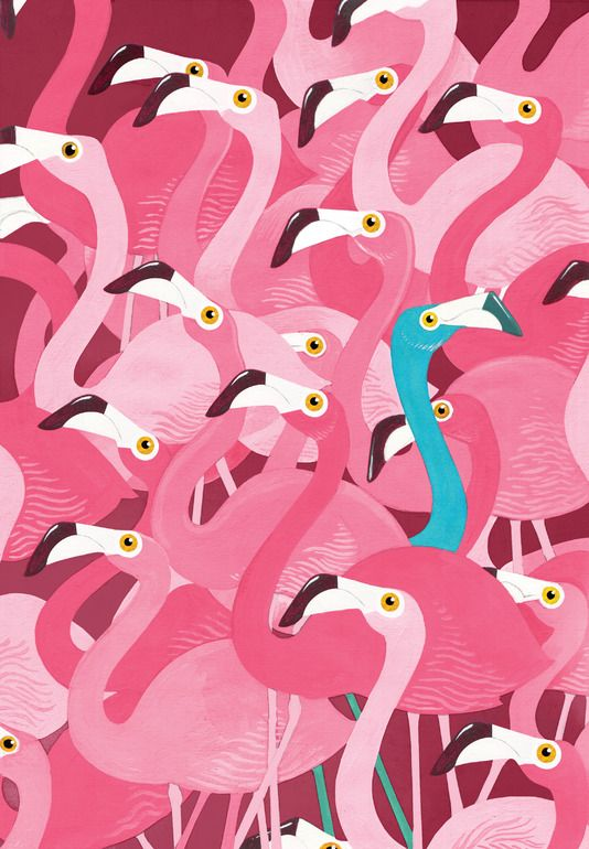 "Saatchi Online Artist: Adam Fisher; Acrylic 2011 Painting ""Flamingoes"".................. Stand out, or just the odd one out ?"