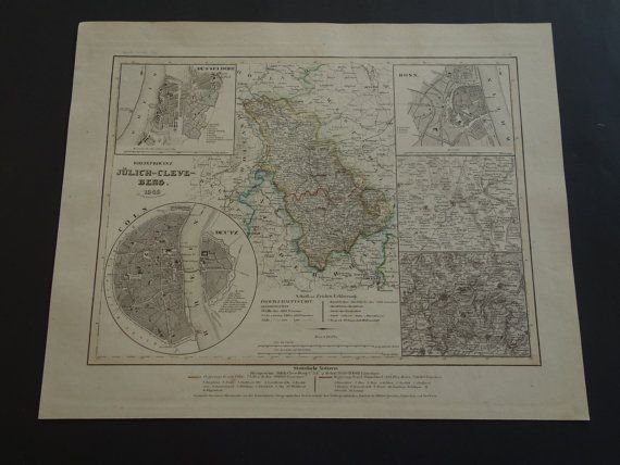 GERMANY old map 1849 original hand colored by VintageOldMaps