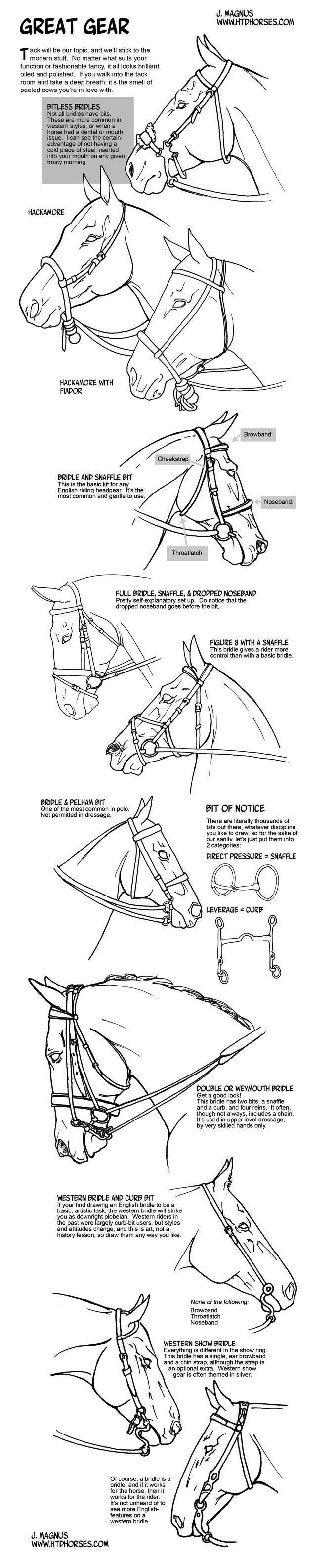 How to draw tack Bridles and Bits by sketcherjak.deviantart.com on @deviantART