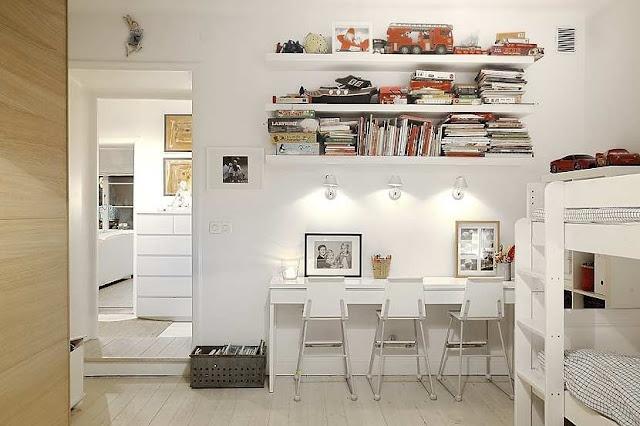 shared desk space: Desks Area, Kids Desks, Work Area, Floating Shelves, Homework Spaces, Shared Kids Rooms, White Interiors, Girls Rooms, Desks Spaces
